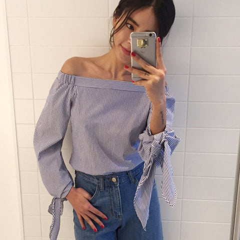 2016 Plus Size Women Sexy Blouses Slash Neck Off Shoulder Bow Long Sleeve Casual