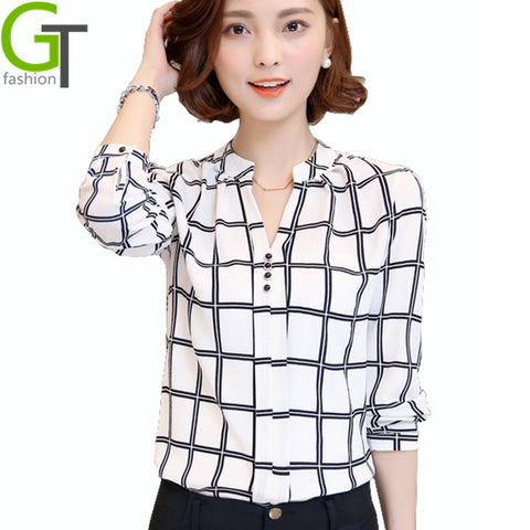 1bec4aa2c332 2016 New Autumn Chiffon Blouse Women Printed Plaid Shirts Chemise Femme Long  Sleeve