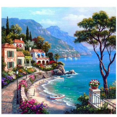 Diamond mosaic full diamond embroidery beads Beautiful Seaside Town Trees diamond
