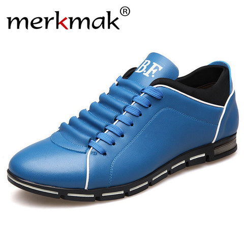 Merkmak Big Size 38-48 Men Casual Shoes Fashion Leather Shoes for Men Summer