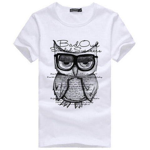 2016 New Summer Fashion Men T Shirt Boy Short Sleeve Cotton Owl