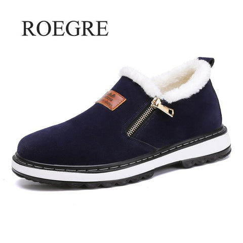 Fashion Black Men's Boots Designer Winter Shoes Men Warm
