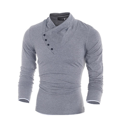 2016 New Autumn Mens 100% Cotton Oblique Button Collar T Shirt Fashion Men Long Sleeve