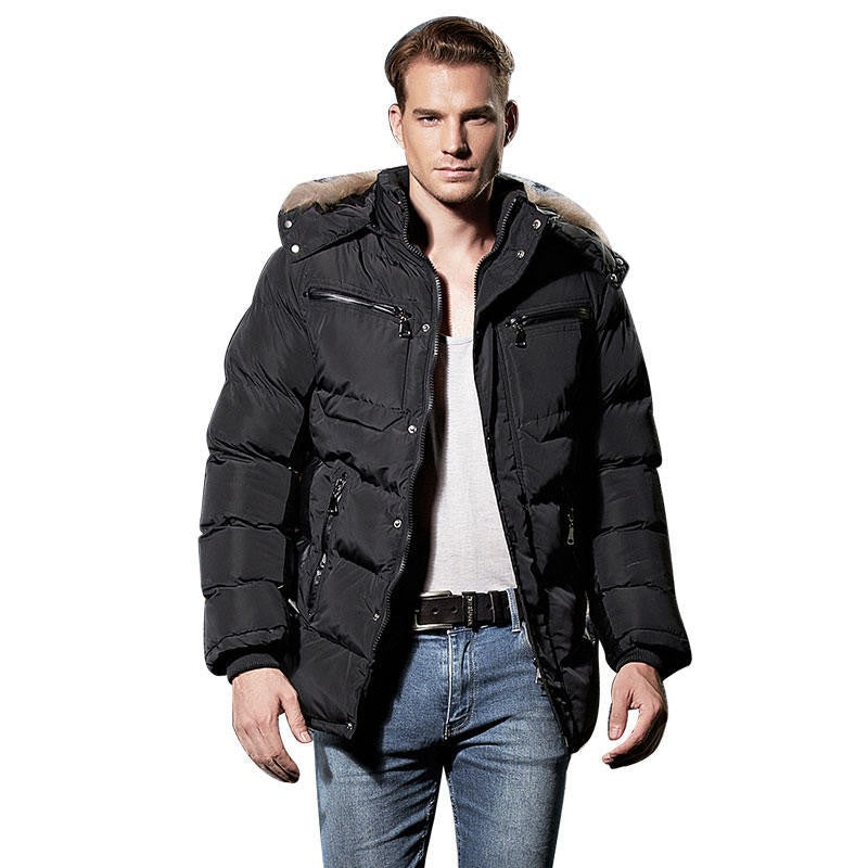 Hooded mens jackets coutudi winter parka men thick cotton solid black down parkas fur