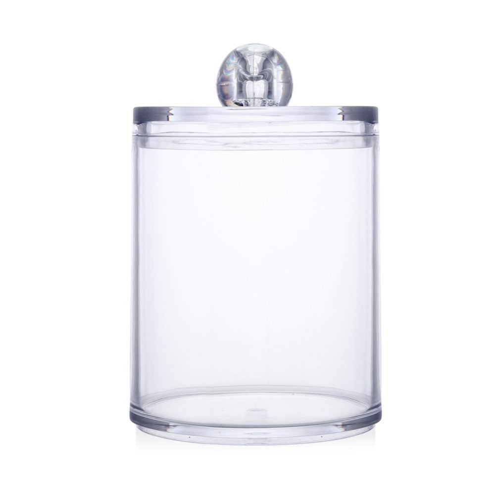 Acrylic Makeup Organizer Round Jars Qtip Container Transparent Cotton Swabs