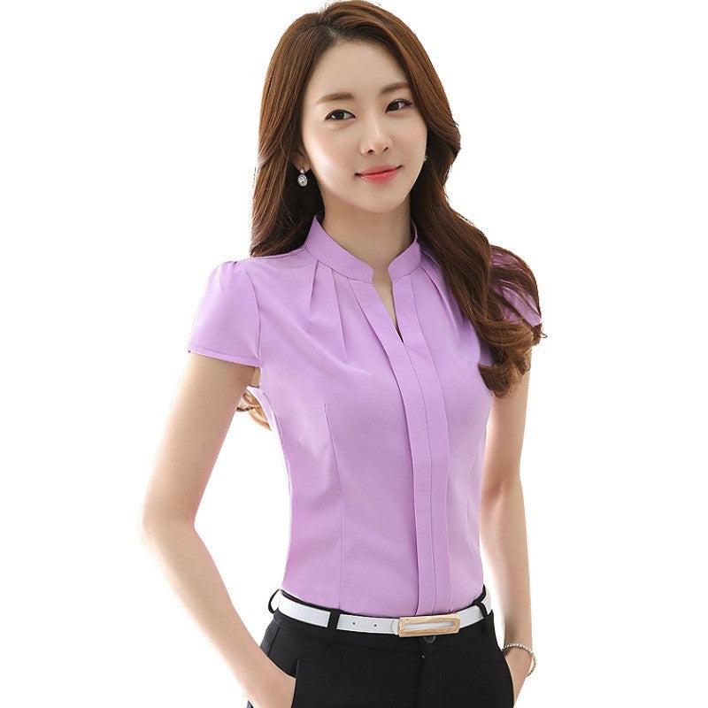 2016 New Office Women Shirts Blouses Pink Purple Elegant Ladies Chiffon Blouse Short Sleeve - Shopy Max