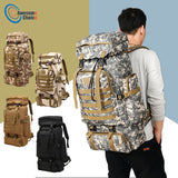 80L Waterproof Climbing Hiking Military Tactical Backpack Bag Camping Mountaineering Outdoor