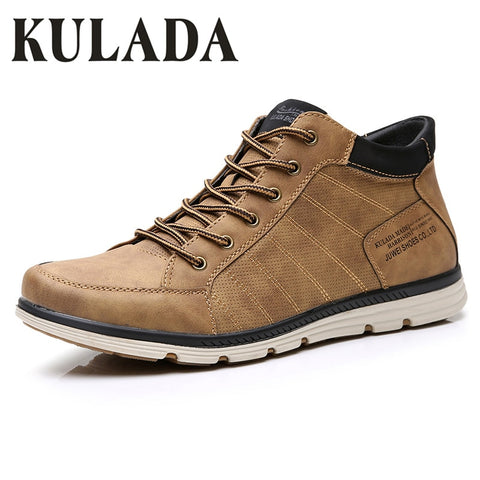 KULADA Hot Leather Shoe Spring&Autumn Men Boots Comfortable Nature Ankle