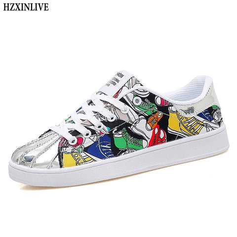 HZXINLIVE 2019 Fashion Women Vulcanized Shoes Sneakers Ladies Lace-up