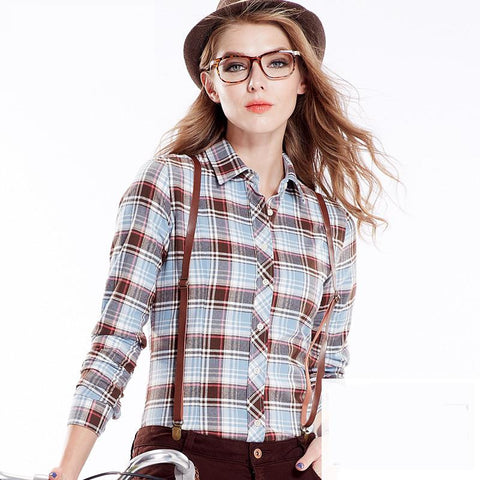 2016  Women's Plaid Shirt Blusas Blouses Women Females Fashion 100% Cotton Brushed