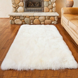 Enipate White Faux Sheepskin Wool Rug Fluffy Hairy Wool Carpet Seat Pad