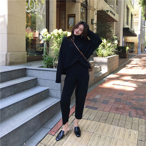 CBAFU autumn spring knitted tracksuit turtleneck sweatshirts women suit clothing