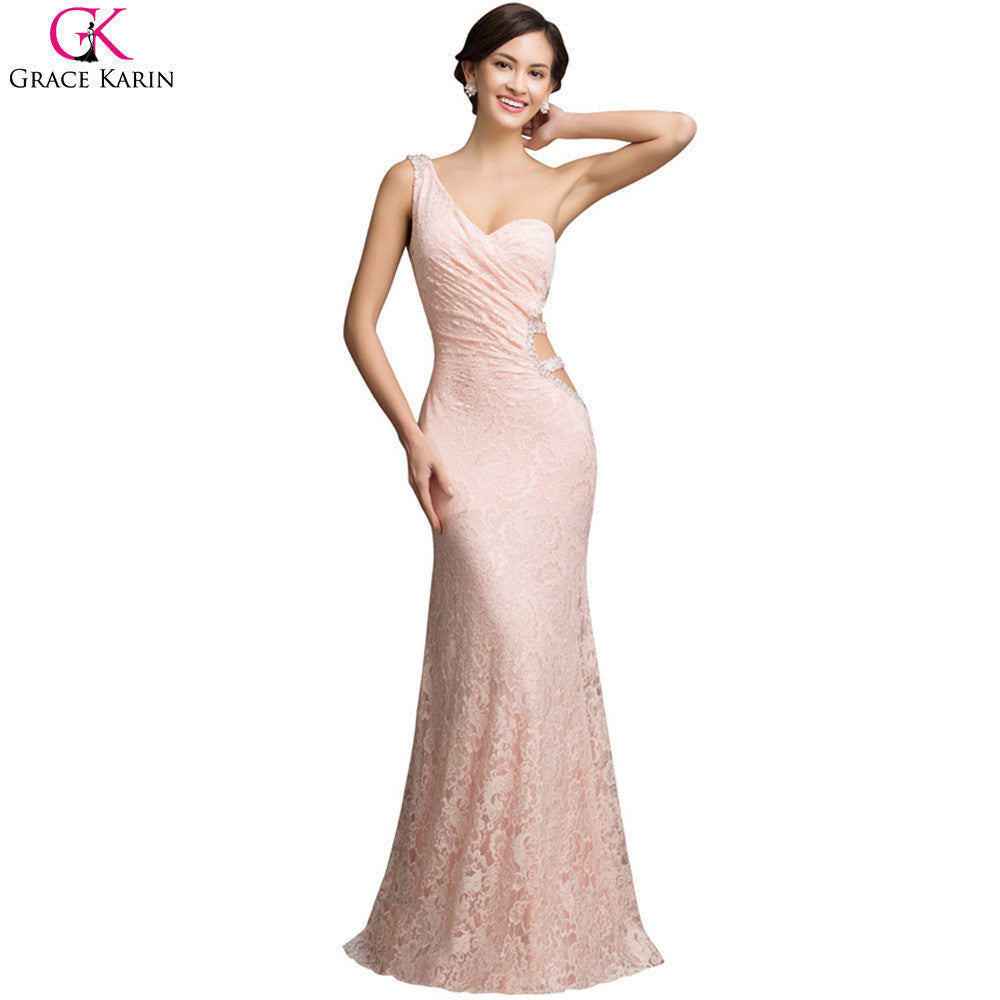 Abendkleider Lang Grace Karin Sexy Backless One Shoulder Pink Lace Maxi  Long Evening Dress