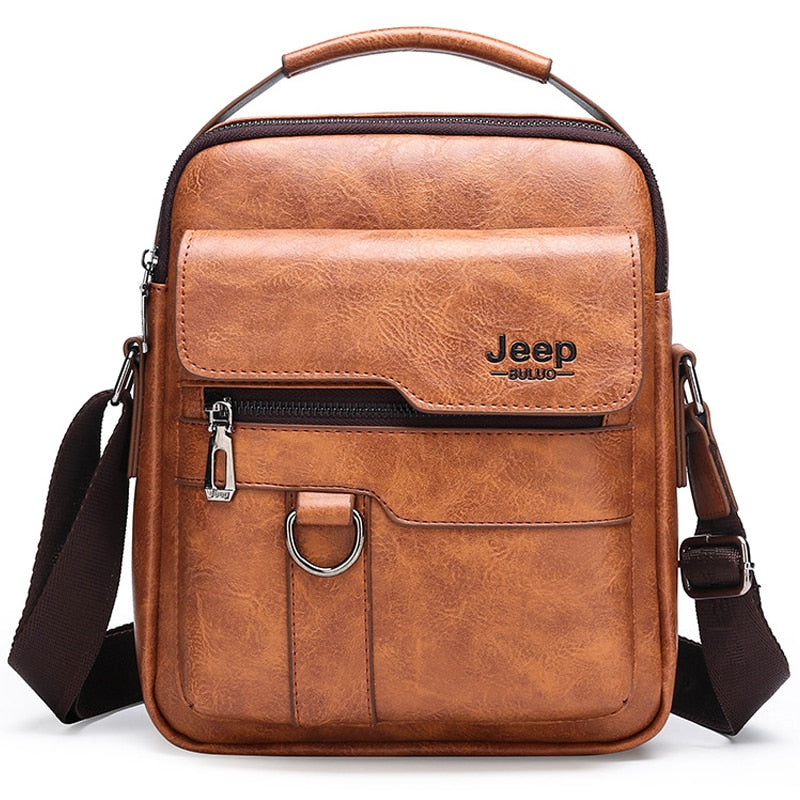 Luxury Brand JEEP Large Capacity Men's Shoulder Bags Man Leather Messenger Bag High Quality