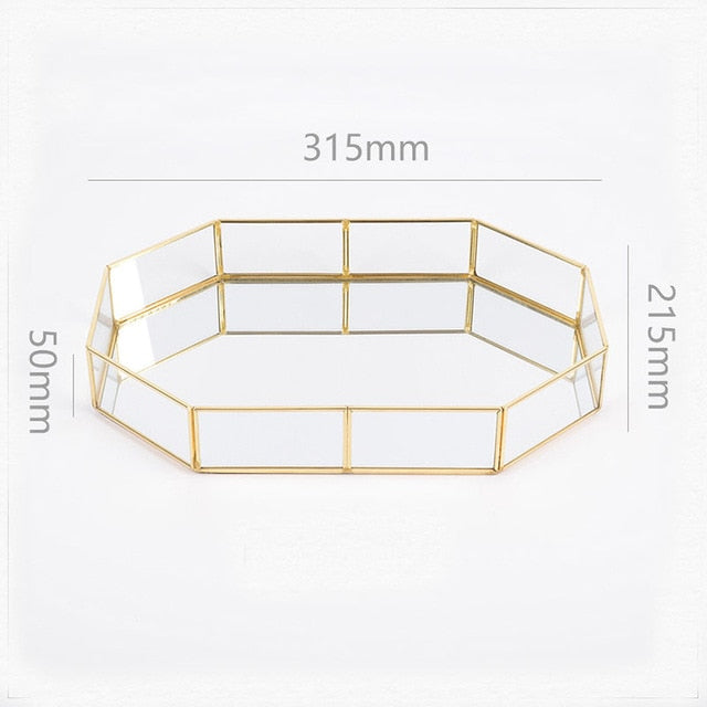 Retro Brass Makeup Storage Tray Golden Polygon Glass Dessert Snack Plate Makeup