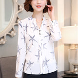 2016 New Autumn Chiffon Blouse Women Printed Plaid Shirts Chemise Femme Long Sleeve