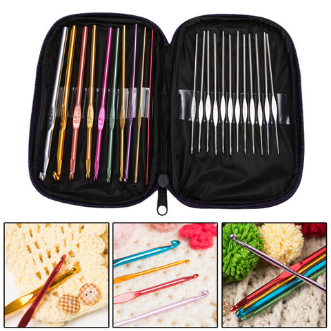 22Pcs Set Multi-colour Aluminum Crochet Hooks Needles Knit Weave Craft Yarn Sewing
