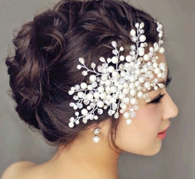 2015 New arrival bridal tiara women wedding jewelry pearl rhinestone pave crown bridal