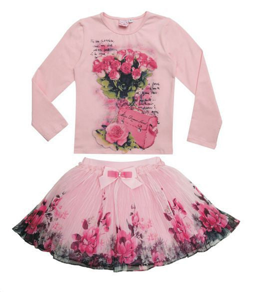 New Fashion 2016 Boutique Outfits Sets For Cute Kids Girl Print Floral Long Sleeve Shirts Tops+Tutu Skirts Sets With Bow Clothes