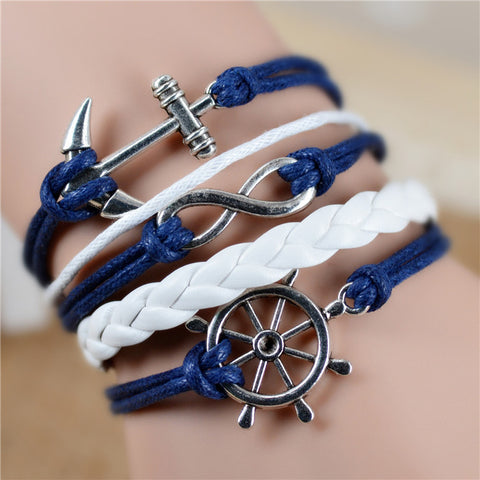 Free shipping Fashion Vintage Infinity Anchor Hook Artificial leather Leather Bracelet, Men Women Bracelets & Bangles Jewelry