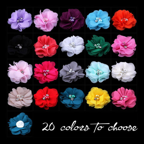 "(120pcs/lot)2"" 20 Colors DIY Mini Chiffon Flowers Whit Pearl Rhinestone"