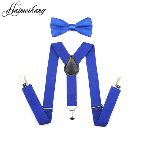 2016 Suspenders and Bow Tie Set Braces Elastic Y-back for Baby Kids Red Pink Black Blue