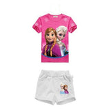 snow queen Animation Baby Girl clothing sets girl elsa princess bebes enfant short-sleeve shirts