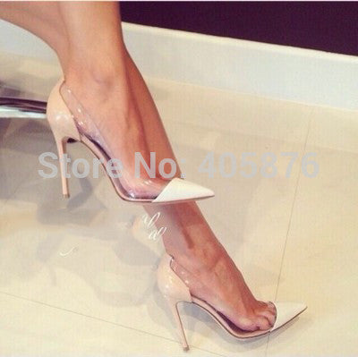 New Sexy Brand fashion See-through pointed toe shoes thin heels high-heeled
