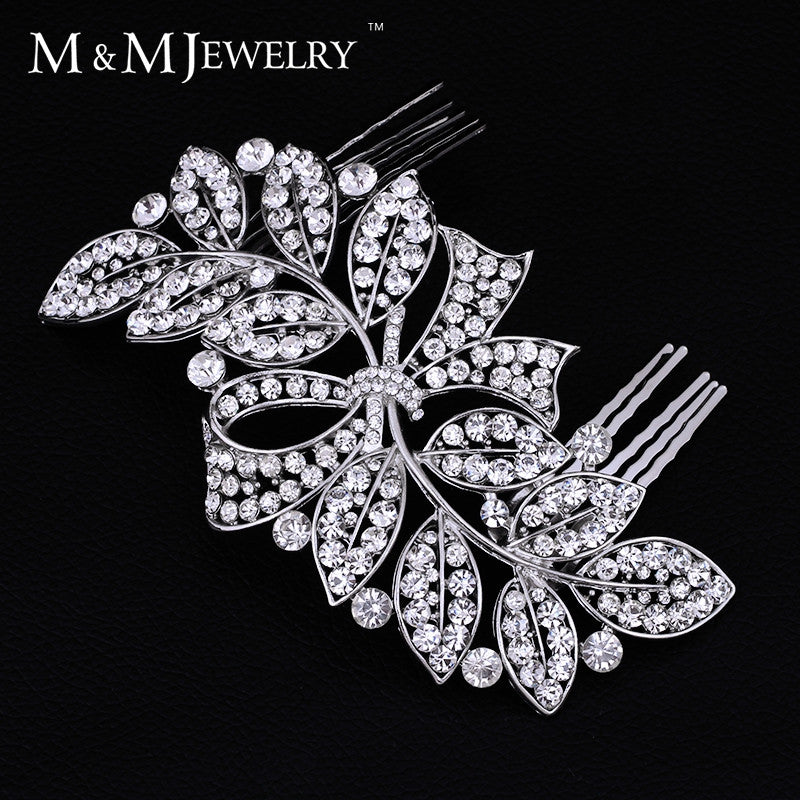 New 100% Luxurious Crystal Leaf Bowknot Imitation Gemstone Bridal Hair Combs Tiara Wedding