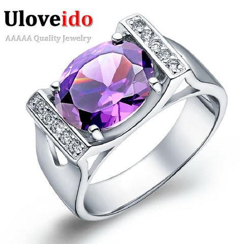 2014 new Unusual 925 Silver Ring Ladies Rings Amethyst Big Rings For Women Jewelry Wedding Top Quality Square Zircon Ulove J121