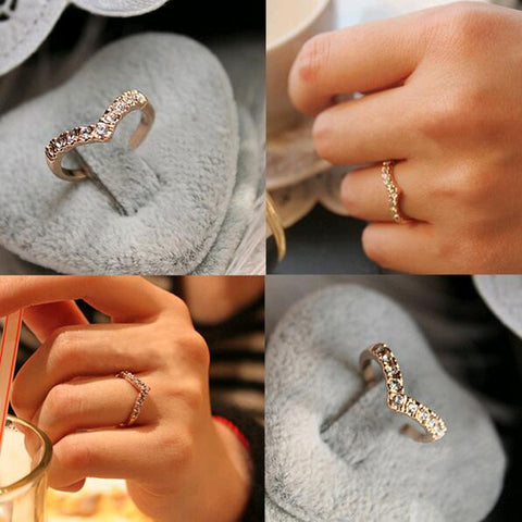 111 Heart personalized unique diamond gold the little finger ring pinky ring accessories
