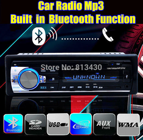 2015 new car radio player stereo 12V mp3 player audio Support Bluetooth/SD Card/USB Port/AUX IN/PHONE/1 Din in dash car radios
