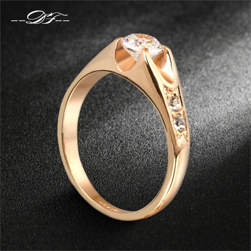 18K Gold Plated Zircon Charms Wedding Rings Bride Crystal For Women Gifts wholesale anel aneis bijou - Shopy Max