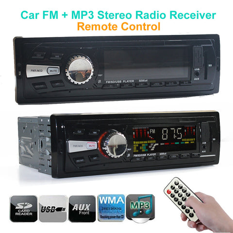 NEW Car 1 DIN In Dash FM and MP3 Stereo Radio Receiver Aux USB Port SD Card Slot