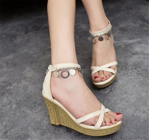 2015 High Heel Sandals Women Leather Pumps Roman Sandal High Heel Wedges Ladies Shoes Hollow Out Sandels Sandale Slippers Women
