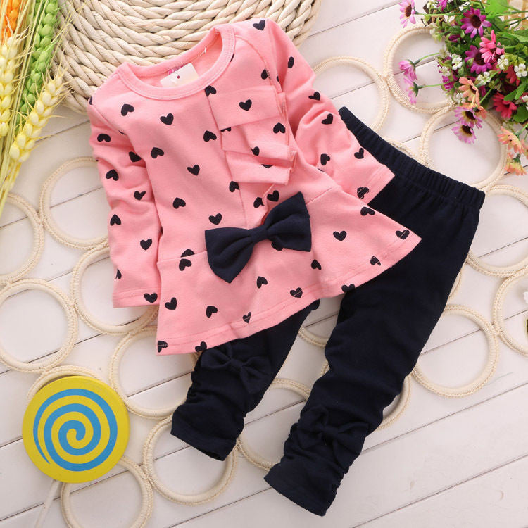 2015 Children Baby Girl Heart-shaped Bow 2PCS Clothes Set Suit Top Sweater Pants