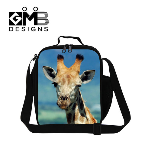 fashion cute giraffe zippers lunch bags high quality polyester lunch box for kids