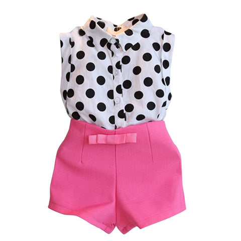2015 New Arrival summer children girls dress 2 pcs polka dot sleeveless top