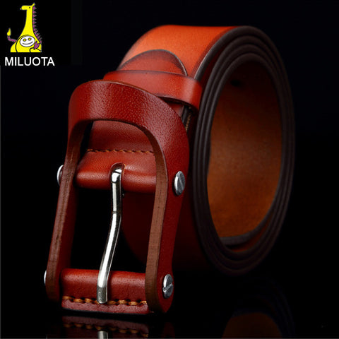 [MILUOTA] High quality 100% Genuine leather belts for men vintage fashion