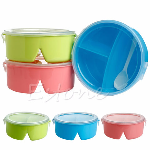 A96 Portable Round Microwave Lunch Box Bento Picnic Food Container Storage + Spoon