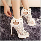 2016 new sexy high heels Lace Women Platform Pums Sandals White Mesh - Shopy Max