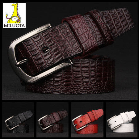 [MILUOTA] 2015 Cowhide + High quality PU leather belts for men fashion Metal