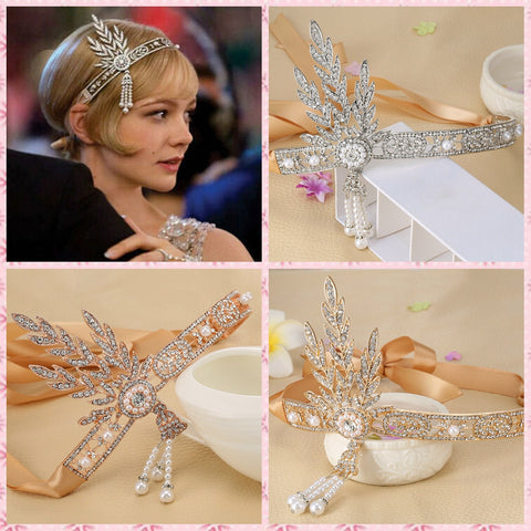 1pc Bridal Great Gatsby 1920s Hair Band Vintage Style Alloy Headpiece Pearls Charleston Party