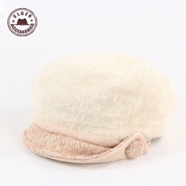 Snapback Caps Gorras Snapback Women Winter Warm Hat Thickening Double Rabbit Hair Button Earmuffs Knitted Visors Beret [gen-320]