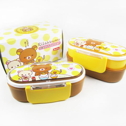 cartoon cute Easily bear Double bento box Japanese student seal lunch box microwave