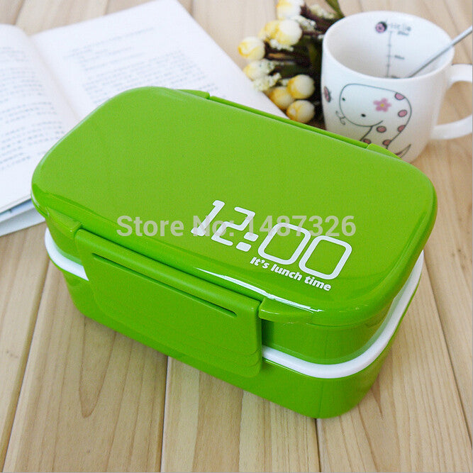 0e78080e1d71 japan style double tier 3-compartment Bento Lunch Box,Food Large