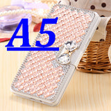 Silk Skin Leather Case for Samsung Galaxy A5 /A7 Wallet Chic +Card Slot Women Elegant Phone