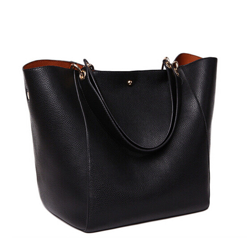 Female Genuine Leather Bag Ladies Black Shoulder Bag Designer Handbags  Bolsas Feminina ec050e239c271