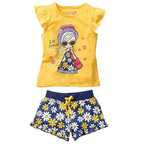 2016 Girls Clothing Set Summer Girls Clothes Short Sleeve Cartoon T-shirt