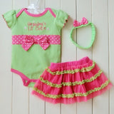 1 Set Baby Girl Polka Dot Headband Romper TUTU Outfit Party Birthday Costume - Shopy Max